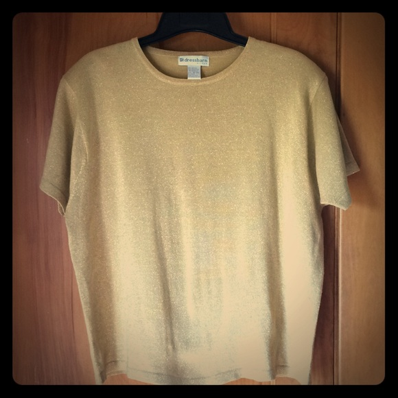 85df12c064 Dress Barn Sparkly Gold Short Sleeve Sweater